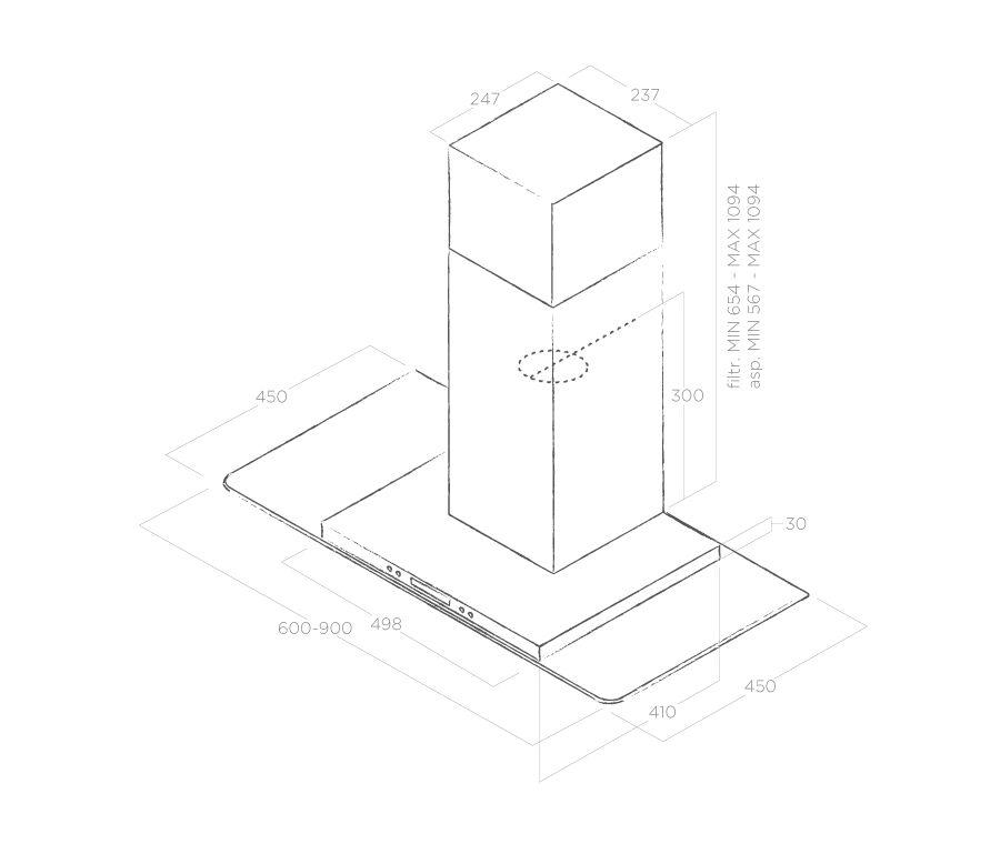 Hood Wall-mounted Flat Glass Plus Elica