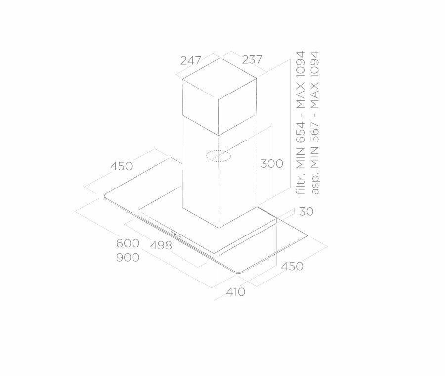 Hood Wall-mounted Flat Glass Elica
